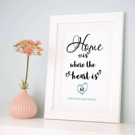 Personalised 'Home Is Where The Heart Is' Art